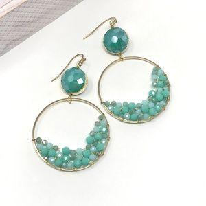 PANACEA Crystal Circle Drop Earrings Green